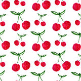 Seamless pattern with watercolor cherry. Endless print background texture. Fabric design. Watercolor fruit vector Royalty Free Stock Photography