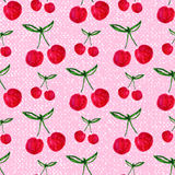 Seamless pattern with watercolor cherry. Endless Stock Image