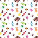 Seamless pattern with watercolor chocolate candies royalty free illustration