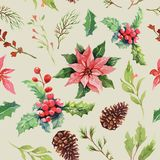 Seamless pattern watercolor Christmas collection. vector illustration