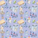 Seamless pattern of watercolor Christmas decorations and plants in scandinavian style. Hand drawn on a blue background vector illustration