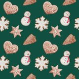 seamless pattern with watercolor christmas ginger cookies vector illustration