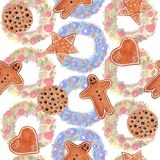 Seamless pattern watercolor Christmas set of cookies with gingerbread man, star, heart, a circle on background with wreath royalty free illustration
