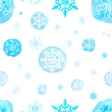 Seamless pattern with watercolor Christmas snowflakes Stock Photos