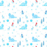 Seamless pattern with watercolor christmas snowman, reindeers Royalty Free Stock Image