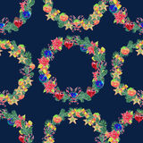 Seamless pattern. Watercolor Christmas Wreath. Xmass decoration Royalty Free Stock Photo