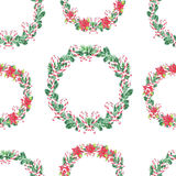 Seamless pattern. Watercolor Christmas Wreath. Xmass decoration vector illustration