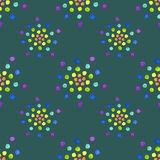 Seamless pattern with watercolor circles on dark green background. Vector illustration, seamless pattern with watercolor circles on dark green background royalty free illustration