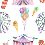 A seamless pattern with the watercolor circus elements Stock Photography