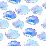 Seamless pattern, watercolor clouds with shadows Royalty Free Stock Image