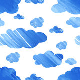Seamless pattern with watercolor clouds. Stock Photos