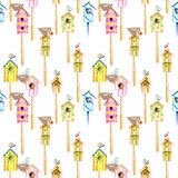 Seamless pattern with watercolor colorful birdhouses, cute birds and nests. Hand drawn isolated on a white background Stock Photo