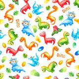 Seamless pattern watercolor colorful dinosaurs with eggs, trace, volcano ana leafs on white background.  Wallpaper or print or stock illustration