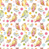 Seamless Pattern With Watercolor Colorful Funny Birds, Abstract Elements And Spots Stock Images