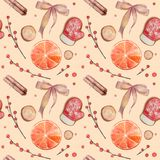 Seamless pattern with watercolor cookies stock illustration