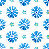 Seamless pattern with watercolor cornflower and forget-me-not. Blue flowers Stock Photo