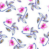 Seamless pattern with the watercolor crimson and scarlet small exotic flowers, hibiscus Stock Image