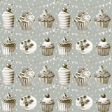 Seamless pattern. Watercolor cupcakes, muffi and festiv flagsns. Monochrome illustration of baking.  Color Sepia Stock Image