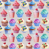 Seamless pattern. Watercolor cupcakes, muffins. Royalty Free Stock Photo