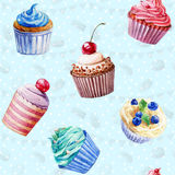 Seamless pattern. Watercolor cupcakes, muffins. Royalty Free Stock Photos