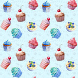 Seamless pattern. Watercolor cupcakes, muffins. Stock Photos