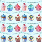 Seamless pattern. Watercolor cupcakes, muffins and festiv flags. Stock Photography