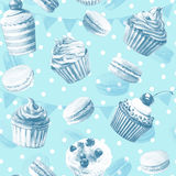 Seamless pattern. Watercolor cupcakes, muffins, macaroons. Royalty Free Stock Image