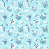 Seamless pattern. Watercolor cupcakes, muffins, macaroons. Stock Photography