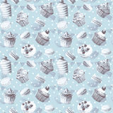 Seamless pattern. Watercolor cupcakes, muffins, macaroons. Royalty Free Stock Photo