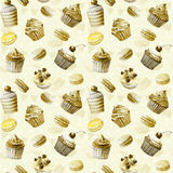 Seamless pattern. Watercolor cupcakes, muffins, macaroons. Royalty Free Stock Photography