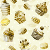 Seamless pattern. Watercolor cupcakes, muffins, macaroons. Stock Photo