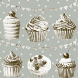 Seamless pattern. Watercolor cupcakes, muffins, macaroons. Royalty Free Stock Photos