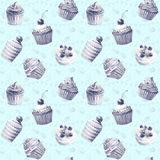 Seamless pattern. Watercolor cupcakes, muffins. Royalty Free Stock Image