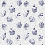 Seamless pattern. Watercolor cupcakes, muffins. Stock Photography