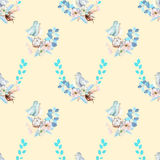 Seamless pattern with watercolor cute bird, blue plants, flowers and cotton flower, hand drawn isolated on a cream background Stock Image
