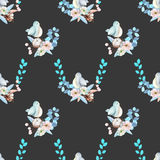 Seamless pattern with watercolor cute bird, blue plants, flowers and cotton flower, hand drawn isolated on a dark background Stock Photography