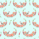 Seamless pattern with watercolor cute bird, red peonies and lupine flowers, hand drawn isolated on a blue background Stock Photography