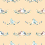 Seamless pattern with watercolor cute birds on the branches Royalty Free Stock Photos