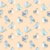 Seamless pattern of the watercolor cute birds Stock Photos