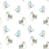 Seamless pattern of the watercolor cute birds Stock Images