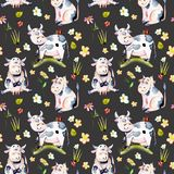 Seamless pattern with watercolor cute cartoon cows, ladybugs and simple flowers stock illustration