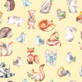 Seamless pattern with watercolor cute forest animals. Hand drawn isolated on a white background Stock Photography