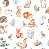 Seamless pattern with watercolor cute forest animals. Hand drawn isolated on a white background Royalty Free Stock Photography