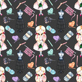Seamless pattern with watercolor cute Girl-needlewoman and knitting elements: yarn, knitting needles and crochet hooks Royalty Free Stock Photography
