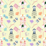 Seamless pattern with watercolor cute Girl-needlewoman and knitting elements: yarn, knitting needles and crochet hooks Royalty Free Stock Photos