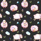 Seamless pattern with watercolor cute pink sheeps, simple flowers and clouds illustrations. Hand drawn isolated on a dark background Royalty Free Stock Photography