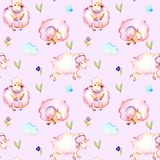 Seamless pattern with watercolor cute pink sheeps, simple flowers and clouds illustrations. Hand drawn isolated on a tender pink background Stock Images