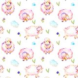 Seamless pattern with watercolor cute pink sheeps, simple flowers and clouds illustrations. Hand drawn isolated on a white background Royalty Free Stock Photos