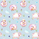 Seamless pattern with watercolor cute pink sheeps, simple flowers and clouds illustrations. Hand drawn  on a blue background Stock Photo