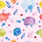 Seamless pattern with watercolor cute sheeps, flowers and stars illustrations vector illustration